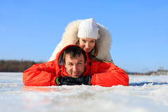 Young couple having fun on winter day Stock Image