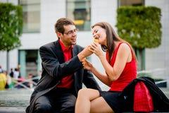 Young couple having icecream Royalty Free Stock Image