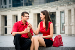 Young couple having icecream Stock Image
