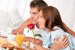 Young couple having luxury hotel breakfast Stock Photo