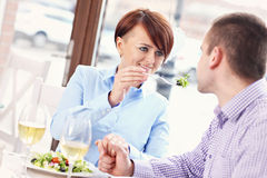 Young couple having a meal in a restaurant Stock Photo