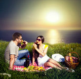 Young couple having picnic stock images