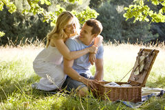 A young couple having a picnic, embracing Royalty Free Stock Images