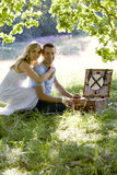 A young couple having a picnic, embracing Royalty Free Stock Photos
