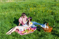Young couple having picnic Stock Image