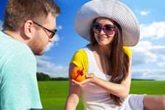 Young couple having picnic Royalty Free Stock Images