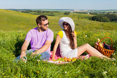 Young couple having picnic Royalty Free Stock Image