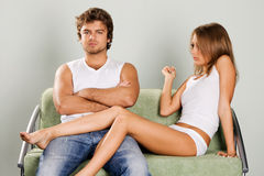 Young couple having a quarrel. At home Stock Images