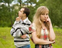 Young couple having quarrel Stock Image