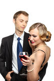 YOUNG COUPLE HAVING RED WINE Stock Images