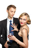 YOUNG COUPLE HAVING RED WINE Stock Photo