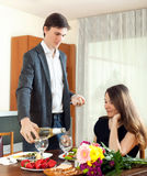 Young couple having romantic dinner Royalty Free Stock Photo