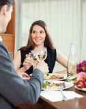 Young couple having romantic dinner Stock Photos