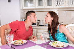 Young Couple Having Romantic Dinner at Home Royalty Free Stock Photos
