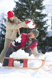 Young couple having snowball fight by sled, laughing stock images