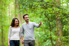 Young couple having a walk in a forest Stock Photography