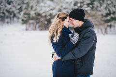 Young couple having a walk in snowy countryside Stock Photography