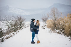 Young couple having a walk in snowy countryside Stock Photo
