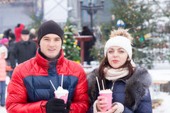 Young Couple Having Winter Cup Drinks Stock Photo