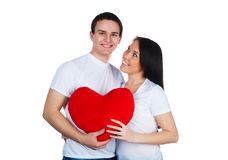 Young couple with a heart Stock Images