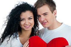 Young couple with a heart Stock Photos