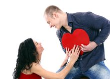 Young couple with a heart Stock Image