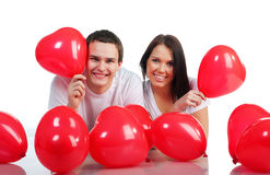 Young couple with a hearts Royalty Free Stock Photo