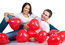Young couple with a hearts Stock Photos