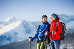 Young couple on a hike royalty free stock image