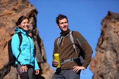 Young couple hiking stock images