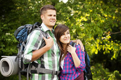 Young couple hiking Stock Image