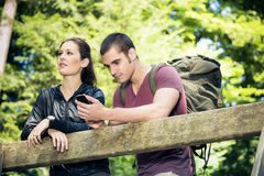Young Couple Hiking Stock Photography