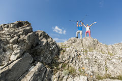 Young couple hiking on mountain Royalty Free Stock Photo