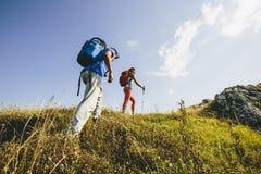 Young couple hiking stock photos