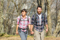 Young Couple Hiking in the Nature Royalty Free Stock Photos
