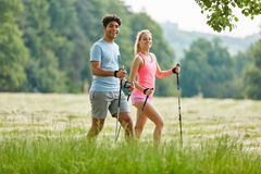 Young couple hiking in the nature Royalty Free Stock Images