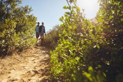 Young couple hiking on a summer day Stock Image