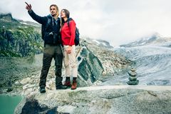 Young Couple Hiking In The Swiss Alps Stock Photography