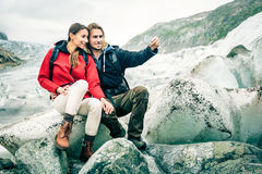 Young Couple Hiking In The Swiss Alps, Taking A Selfie Stock Image