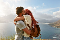 Young couple hiking taking selfie with smart phone Stock Image