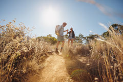 Young couple on hiking trip Royalty Free Stock Photography