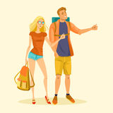 Young couple is hitchhiking. A young couple is hitchhiking. Illustration in cartoon style. Vector Royalty Free Stock Photo