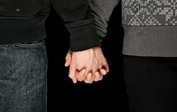 Young couple hold each others hands Stock Image