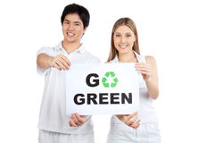 Young Couple Holding Blank Placard Stock Photos