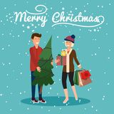 Young couple holding christmas tree and gifts, get shopping. Vector illustration concept Royalty Free Stock Photos