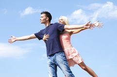 Young couple holding hand Stock Images