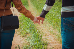Young couple holding hands on the background of green grass Royalty Free Stock Photos