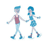 Young couple holding hands and roller skating together. Dating. Stock Photo