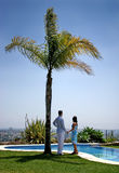Young couple holding hands under a palm tree in the sun. Young couple, in love, holding hands under a palm tree in the sun next to a blue swimming pool in Spain Stock Photo