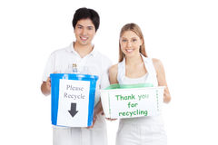 Young Couple Holding Recycle Bin Stock Image